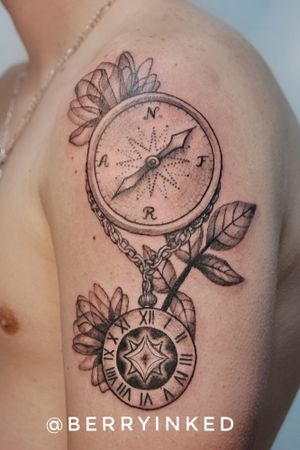 For Raúl #linework #realism #blackandgray #Black #clock #flower