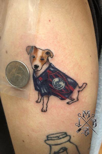 #dog #dogtattoo #puppy #soccer #Futbol #sports #color #colorful #tiny #tinytattoo #portait #tattoo #tattooartist #tattooart #animal