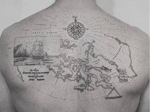 Tattoo by Eugene Andrui #EugeneAndrui #besttattoos #tattoodoapp #appspotlight #spotlight #best #awesome #cool #fineline #linework #atlas #globe #map #ship #compass #boat #landscape #detailed