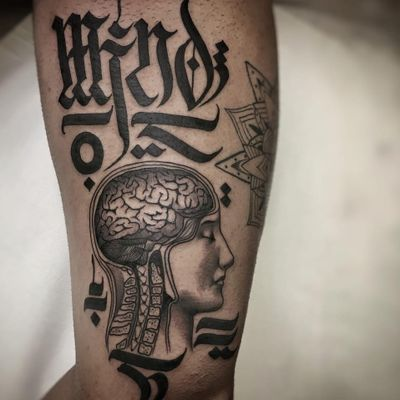 Tattoo by Delia Vico #DeliaVico #besttattoos #tattoodoapp #appspotlight #spotlight #best #awesome #cool #lettering #brain #anatomy #mind #human #portrait #script #calligraphy