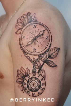 Clock #realism #blackandgrey #linework #blackwork #black #watch #clock #compass
