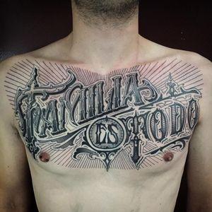 Tattoo by Pierre Bourquin aka pierroked #pierroked #PierreBourquin #lettering #calligraphy #script #text #blackwork #linework #filigree #letters #quote #words #detail