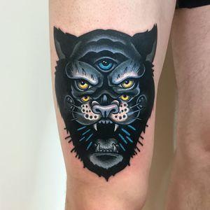 Tattoo by Giena Todryk #GienaTodryk #besttattoos #tattoodoapp #appspotlight #spotlight #best #awesome #cool #surreal #tiger #panther #junglecat #thirdeye #cat