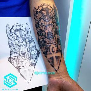 """[TATTOO] """"Anubis"""" Estilo Blackwork Diseño propio personalizado Artista: FB/INSTA: @jaime.sxe  #SkylineStudio #Tattoo  #CreateYourself"""