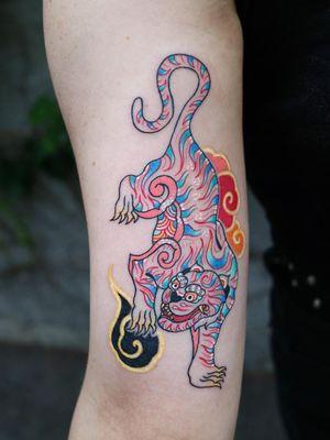 Tattoo by Pitta #Pitta #PittaKkm #besttattoos #tattoodoapp #appspotlight #spotlight #best #awesome #cool #Koreantiger #Korean #tiger #junglecat #clouds #cat #Kitty