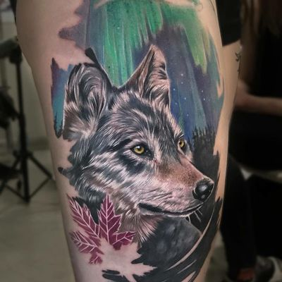 Tattoo by Victoria Benea #VictoriaBenea #besttattoos #tattoodoapp #appspotlight #spotlight #best #awesome #cool #wolf #animal #mapleleaf #realism #realistic #auroraborealis #dog #nature