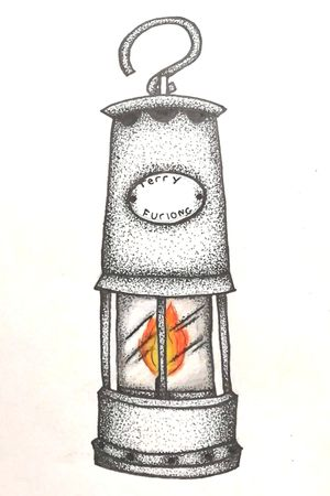 Coal Miners Lamp Drawn for my Mother Memory of my Bampa - Terry Furlong Dotwork. Fineliner pens. Prismacolour pencils