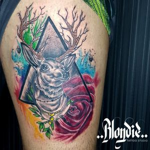 Deer / watercolor / rose