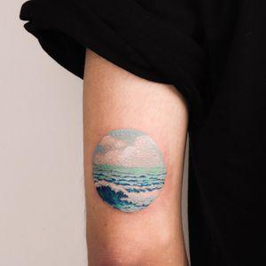 sea #drawingtattoo #colortattoo #illustrative #cloudtattoo #watercolor #painting #구름타투