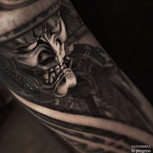 samurai black and gray tattoo