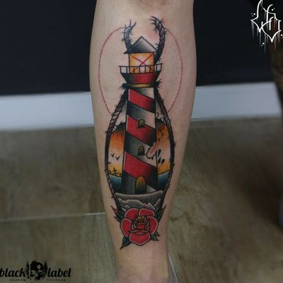 Lighthouse on the shin done by./ david #tattoo #tattooedpeople #guyswithtattoos #lighthouse #traditional #traditionaltattoo #traditionalbangers #americantraditional #americana #sailortattoo #bold #lighthousetattoo #wuppertal #legtattoo #sailor #oldschool #boldwillhold