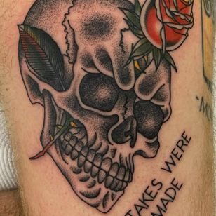 Tattoo by Jesse Berderow #JesseBerderow #mementomoretattoos #mementomori #death #dying #skull #RIP