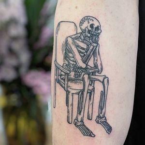 Tattoo by Matt Bailey #MattBailey #mementomoretattoos #mementomori #death #dying #skull #RIP
