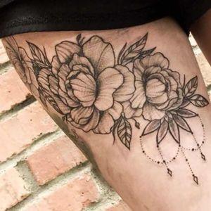 Line work peony flower