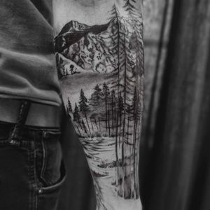 Mountain forest lake freehand work