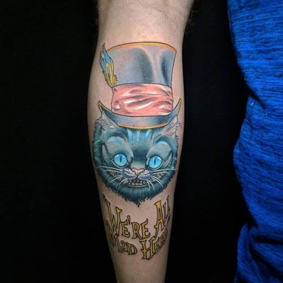 Cheshire Cat. Inked by the very talented @leobranco for more info and to schedule appointment please PM us or call 09-7421677 Or just book yourself at https://yoman.co.il/KoiTattoo #color #colortattoo #cheshirecat #line #black #blacktattoo #art #artistsoninstagram #instagood #instagram #inspiration #koitattooil #tattooed #tattoo #tattooideas #tattooart #a #original #design