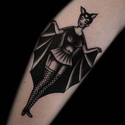 Tattoo by Austin Maples #AustinMaples #battattoos #bat #animal #dracula #vampire #nature #night #blackwork #lady #pinup #costume #halloween