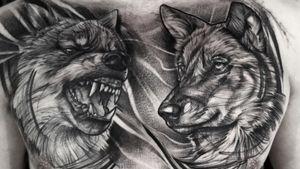Sketchy wolves #tattoo#tattooartist #wolf#wolftattoo#wolvestattoo#blackworktattoo#dotworktattoo#dots#sketch#sketchtattoo#chest#praguetattoo#tomas.ink#tattooing#hustlebutterdeluxe #suprasorb#tattooderm#whipshading