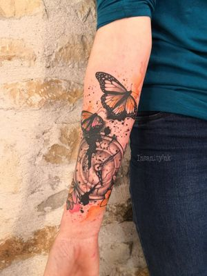 #watercolor #watercolour #watercolourtattoo #graphictattoos #butterfly #clock