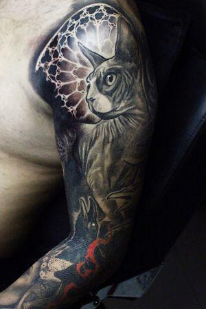 #Onlythebesttattooart #tattoo #ink #cristianrodrigueztattoos #blackandgrey #realism #surrealism #dotwork #ornamental #tribal #gemetric #colortattoo #fuerteventura #sphynx