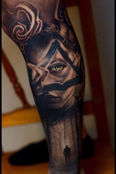 #Onlythebesttattooart #tattoo #ink #cristianrodrigueztattoos #blackandgrey #realism #surrealism #dotwork #ornamental #tribal #gemetric #colortattoo #fuerteventura #eye #eyetattoo #greeneyes