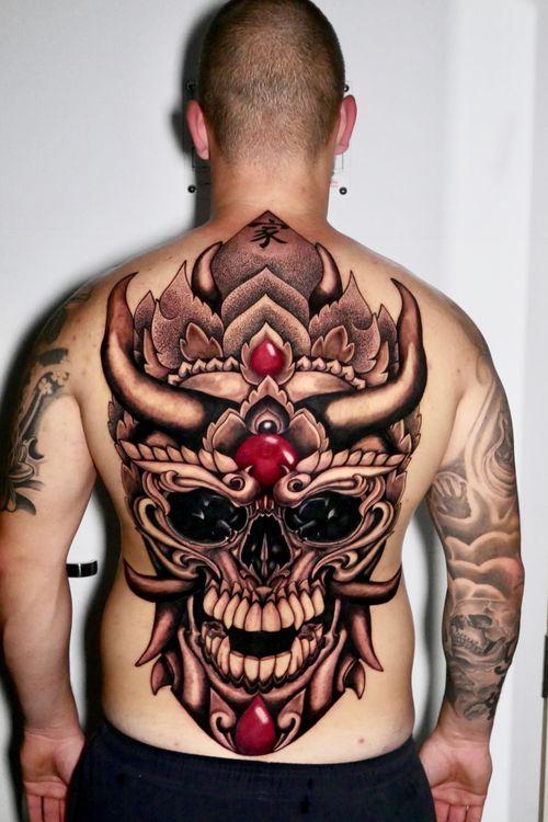 Backpiece #skull  in 3 days @thailand tattoo expo