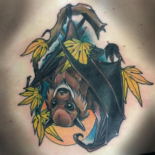 Tattoo by Lemonsmiff #Lemonsmiff #battattoos #bat #animal #dracula #vampire #nature #night #newschool #neotraditional #moon #mapleleaves