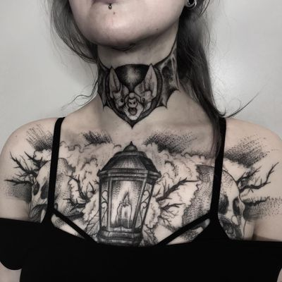 Tattoo by Inksil #Inksil #battattoos #bat #animal #dracula #vampire #nature #night #illustrative #blackwork #candle #lamp #skull