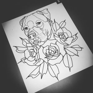 Dog , pitt bull sketch