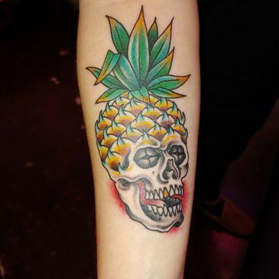 #Psych + #Anatomy inspired tattoo (Pineapple Skull)!