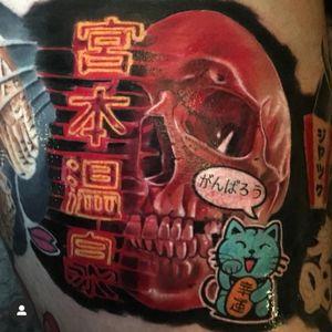 Neon skull #sleeve #tattoo #tattoosleeve #ink #blackandgrey #realism #portrait #killerink #ink #instaink #colourrealism