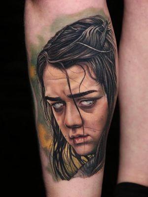 Tattoo by Victor Chil #VictorChil #GameofThrones #GameofThronestattoo #GoT #GoTtattoo #HBO #tvshowtattoo #popculturetattoo #aryastark #realism
