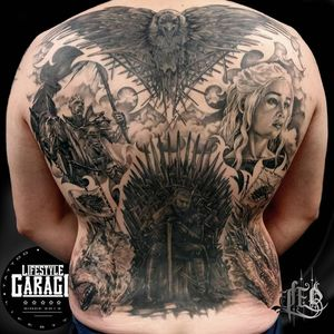 Game of Thrones tattoo by Leo Thissen #LeoThissen #GameofThrones #GameofThronestattoo #GoT #GoTtattoo #HBO #tvshowtattoo #popculturetattoo #daenerystargaryen #ironthrone #nightking