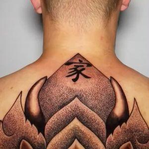 3 days in a row #backpiece #skull @thailandtattooexpo #tattooartist