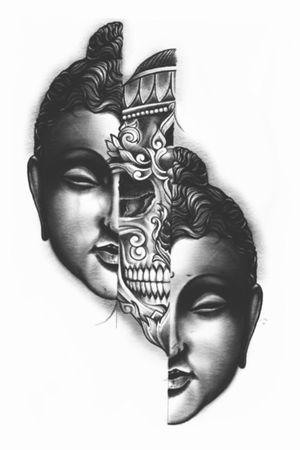 Buddah/skull split. Avaialbe to be tattooed.