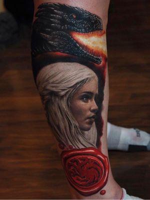Game of Thrones tattoo by Rich Pineda #RichPineda #GameofThrones #GameofThronestattoo #GoT #GoTtattoo #HBO #tvshowtattoo #popculturetattoo #daenerystargaryen #dragon #MotherOfDragons