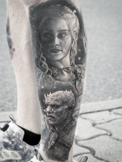 Game of Thrones tattoo by Stefan Tattoos #StefanTattoos #GameofThrones #GameofThronestattoo #GoT #GoTtattoo #HBO #tvshowtattoo #popculturetattoo #daenerystargaryen #nightking #realism