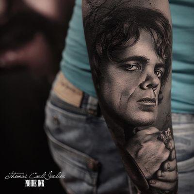 Game of Thrones tattoo by Thomas Carli Jarlier #ThomasCarliJarlier #GameofThrones #GameofThronestattoo #GoT #GoTtattoo #HBO #tvshowtattoo #popculturetattoo #TyrionLannister #PeterDinklage