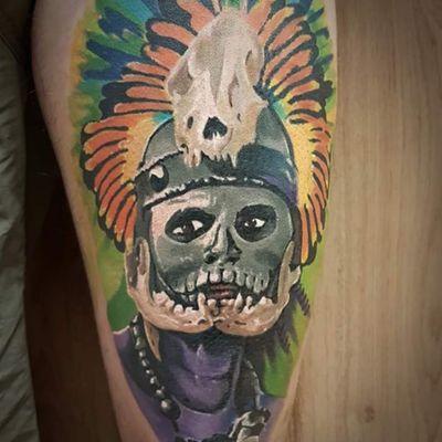 """Call of Xolotl""🌘 Really enjoyed doing this #aztec #warrior 💀 Thank you @lovingthemuffin 🖤 #MrWhiteSnakeTattoo #worldfamousink #tattoosocial #Bakutattoo #tattoouk #art #tattoo #inked #ink #tatuaz #portsmouth #southamptontattoo #southampton #krakow #poland #hampshiretattoo #tattooed #tattoos #tattooartist #design #tattoodesign #tattooidea #aztecwarrior #skull #headdress #xolotl #aztectattoo #warriortattoo"