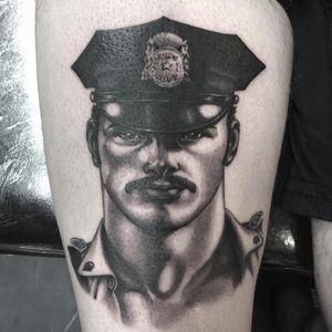 Thigh tattoo by Craig Ridley #CraigRidley #TomofFinlandtattoos #TomofFinlandtattoo #TomofFInland #leather #kink #queer #gayculture #leatherdaddy #portrait #men