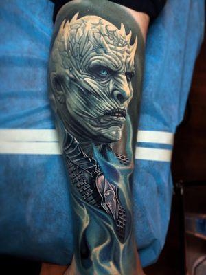 Game of Thrones tattoo by Nikko Hurtado #NikkoHurtado #GameofThrones #GameofThronestattoo #GoT #GoTtattoo #HBO #tvshowtattoo #popculturetattoo #NightKing #realism