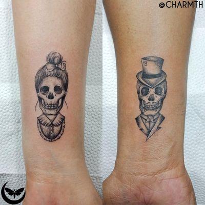 till death be beloved custom piece for Mae and Rey #skull #couplegoals #coupletattoos #inkedcouple #love #tilldeath #infinity #charmth #minitattoos #fineline #skulls #small #microtattoo #detailed #singleneedle #sticker #welove #tattoodo #crisp #clean #safe