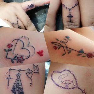 Tatuagens pequenas... todas para mesma pessoa, no mesmo dia!