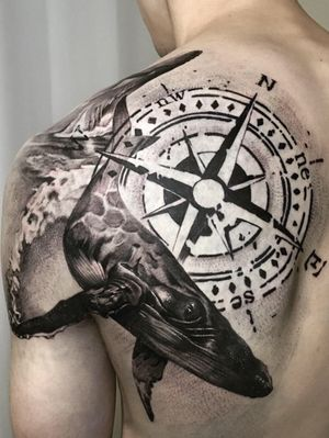 whale & compass black and gray realism chicano blackwork korean