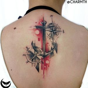 Its true that its easier to steer to the directions that bring pleasure to us, but it is through pain and discomfort that we learn the most. a custom anchor for Jazz #anchor #compass #shipswheel #Abstracttattoo #blackandred #sketchytattoos #illustrative #charmth #backtattoos #welove #Tattoodo  #abstract #linework #geometry #sketchy #colored #spine #back #bold