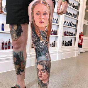 Game of Thrones tattoo by David Corden #DavidCorden #GameofThrones #GameofThronestattoo #GoT #GoTtattoo #HBO #tvshowtattoo #popculturetattoo #AryaStark #wolf #direwolf #SansaStark #realism