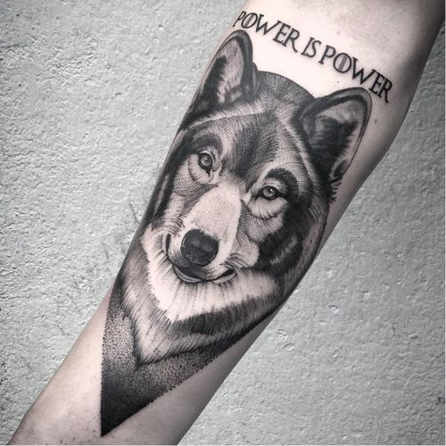 Game of Thrones tattoo by Boo Litjes #BooLitjes #GameofThrones #GameofThronestattoo #GoT #GoTtattoo #HBO #tvshowtattoo #popculturetattoo #direwolf #wolf