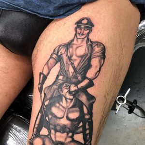 Thigh tattoo by Christian Biede #ChristianBiede #TomofFinlandtattoos #TomofFinlandtattoo #TomofFInland #leather #kink #queer #gayculture #leatherdaddy #portrait #men