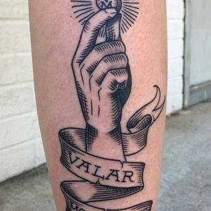 Game of Thrones tattoo by Shaun Bushnell #ShaunBushnell #GameofThrones #GameofThronestattoo #GoT #GoTtattoo #HBO #tvshowtattoo #popculturetattoo #illustrative #linework #banner #hand