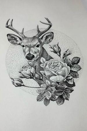 Design available #deer #deertattoo #rosetattoo #roses #design